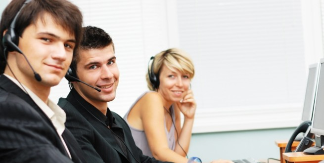 Customer Service People with Headsets